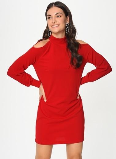 Loves You Omuz Dekolteli Crep Elbise Kırmızı